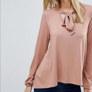 ASOS PUSSYBOW Tie Top with Balloon Sleeves XS